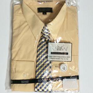Yellow Long Sleeve Dress Shirt w/Clip On Tie